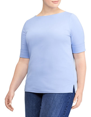 Lauren Ralph Lauren Plus Cotton Boat neck Tee-BLUE-2X