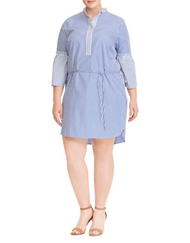 Lauren Ralph Lauren Plus Striped Cotton Shirtdress-BLUE-18W