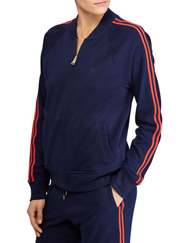 Lauren Ralph Lauren French Terry Track Cotton Jacket-NAVY-X-Small