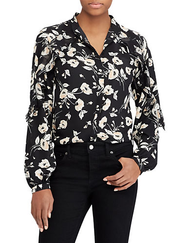 Lauren Ralph Lauren Floral Cotton Button-Down Shirt-BLACK-X-Small 89949645_BLACK_X-Small