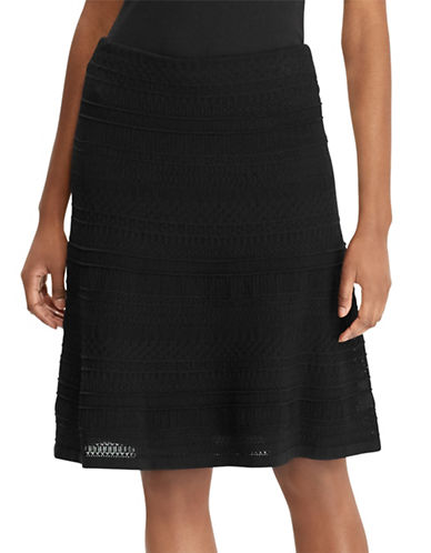 Lauren Ralph Lauren 2-in-1 Textured A-Line Skirt and Slip-POLO BLACK-Large 89949681_POLO BLACK_Large