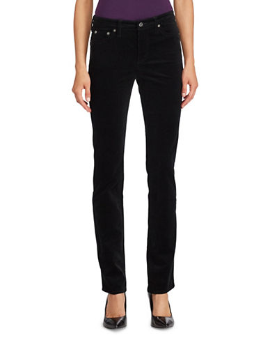 Lauren Ralph Lauren Premier Straight Curvy Corduroy Jeans-BLACK-10