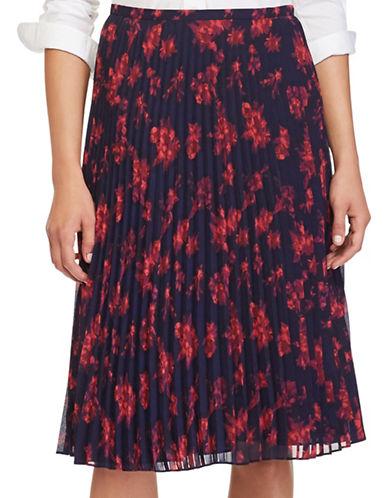 Lauren Ralph Lauren Pleated Floral Midi Skirt-ASSORTED-2