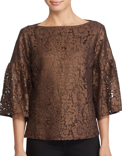 Lauren Ralph Lauren Lace Boatneck Top-GOLD-Medium