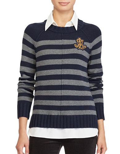 Lauren Ralph Lauren Layered Bullion-Patch Sweater-BLUE MULTI-Small
