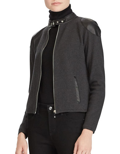 Lauren Ralph Lauren Petite Cotton-Blend Moto Jacket-GREY-Petite Large
