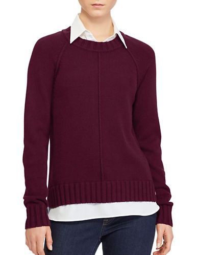 Lauren Ralph Lauren Petite Layered Sweater-RED-Petite X-Small