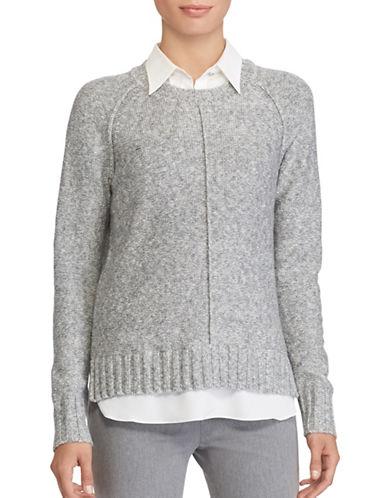 Lauren Ralph Lauren Petite Layered Sweater-GREY-Petite Medium