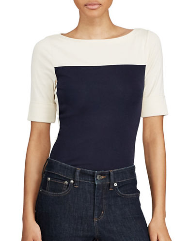 Lauren Ralph Lauren Petite Colorblock Cotton Tee-NAVY/WHITE-Petite Small