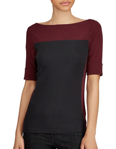 Lauren Ralph Lauren Petite Colorblock Cotton Tee-BLACK/BURGUNDY-Petite Large