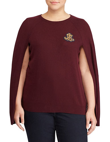 Lauren Ralph Lauren Plus Bullion-Crest Sweater Cape-RED-2X
