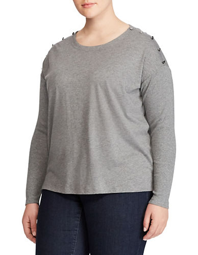 Lauren Ralph Lauren Plus Button-Shoulder Jersey Top-GREY-1X 89610763_GREY_1X