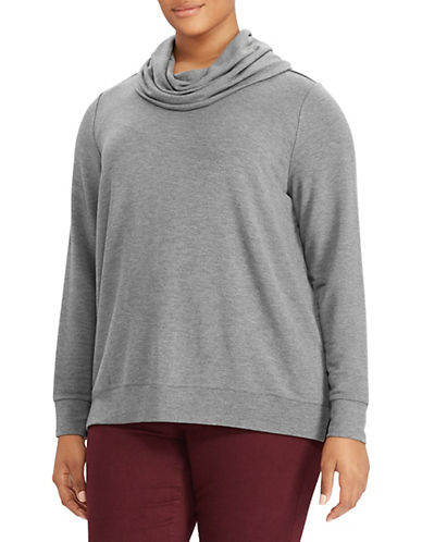 Lauren Ralph Lauren Plus Cowlneck French Terry Pullover-GREY-1X