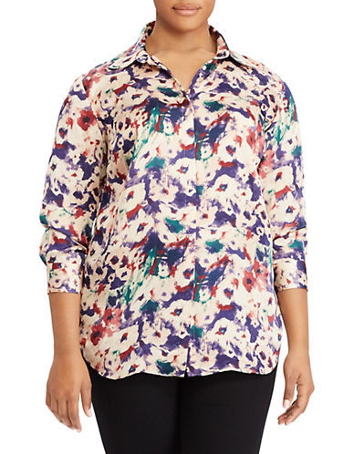 Lauren Ralph Lauren Plus Floral-Print Button-Down Shirt-PINK-1X