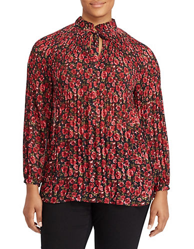 Lauren Ralph Lauren Plus Floral-Print Pleated Top-RED-1X
