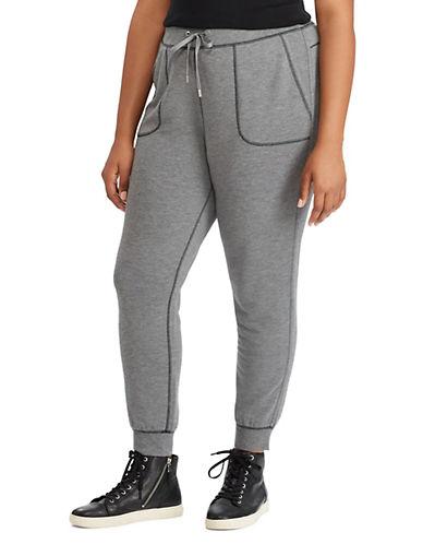 Lauren Ralph Lauren Plus Stretch Drawcord Jogger Pants-GREY-2X 89610797_GREY_2X