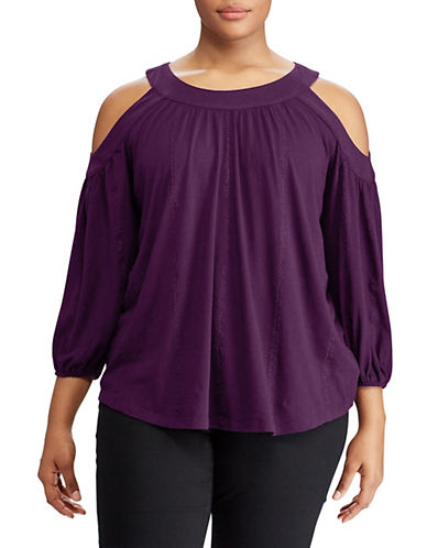 Lauren Ralph Lauren Plus Cold-Shoulder Jersey Top-PURPLE-1X