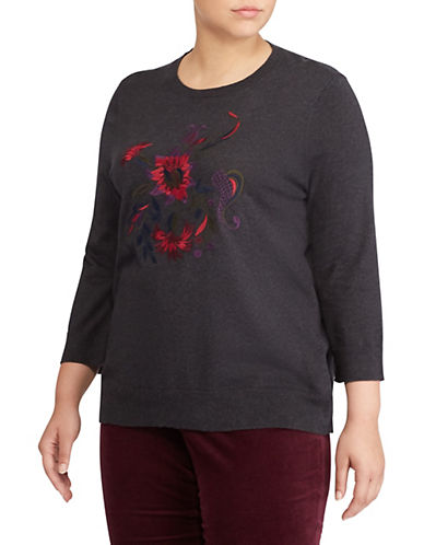 Lauren Ralph Lauren Plus Embroidered Cotton-Blend  Sweater-GREY-2X
