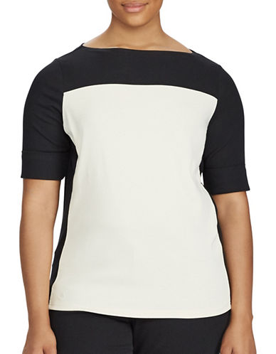 Lauren Ralph Lauren Plus Colourblock Cotton Top-NATURAL/BLACK-1X
