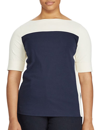 Lauren Ralph Lauren Plus Colourblock Cotton Top-BLUE/NATURAL-1X
