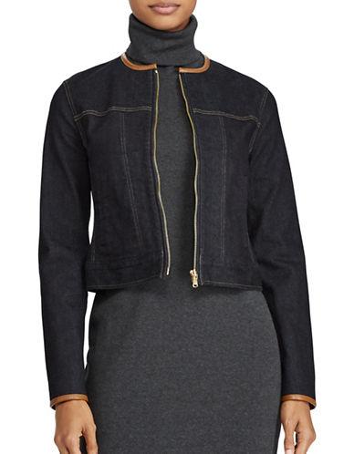 Lauren Ralph Lauren Petite Leather-Trim Denim Jacket-BLUE-Petite X-Small