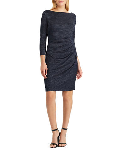Chaps Metallic Knit Sheath Dress-BLUE-Large