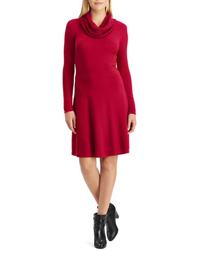 Chaps Cowl Neck Fit-and-Flare Sweater Dress-ORANGE-X-Large