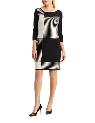 Chaps Plaid Sweater Dress-BLACK-Medium