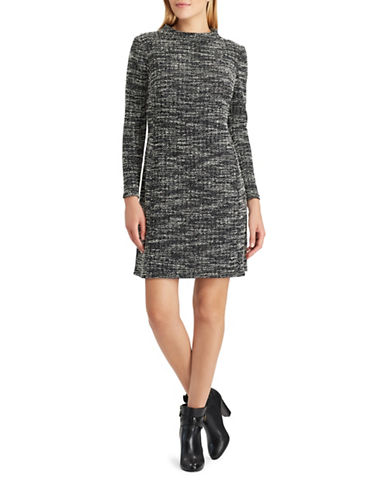 Chaps Boucle Sweater Dress-BLACK-16