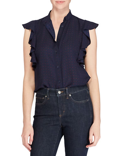 Lauren Ralph Lauren Polka Dot Ruffle Blouse-BLUE-Small