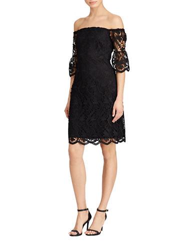Lauren Ralph Lauren Lace Off-the-Shoulder Dress-BLACK-0