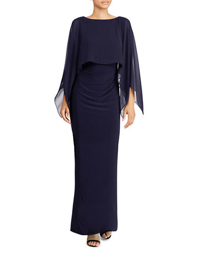 Lauren Ralph Lauren Crepe Overlay Boat Neck Evening Gown-BLUE-14