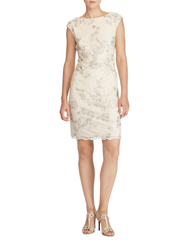 Lauren Ralph Lauren Floral Geometric-Lace Dress-PINK/GREY-16