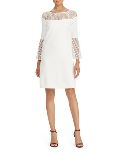 Lauren Ralph Lauren Crochet Lace-Trim Crepe Dress-WHITE-2