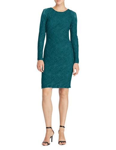 Lauren Ralph Lauren Lace Sheath Dress-TEAL-16