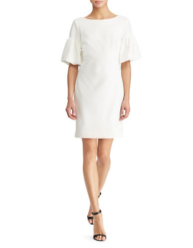 Lauren Ralph Lauren Ponte Boatneck Bubble-Sleeve Dress-WHITE-10