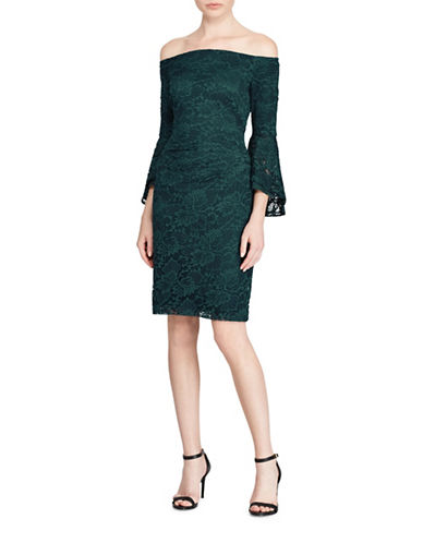 Lauren Ralph Lauren Off-the-Shoulder Lace Sheath Dress-GREEN-18