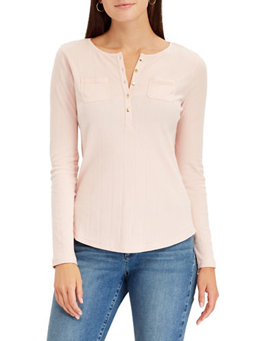 Chaps Ribbed Cotton Henley-PINK-X-Large