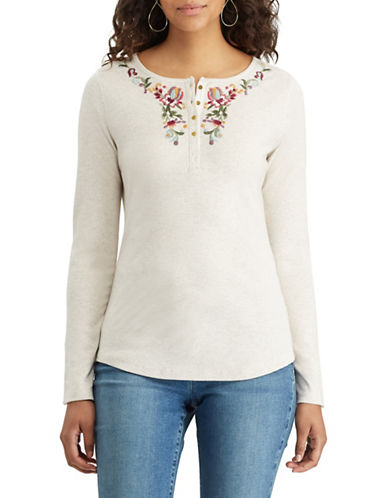 Chaps Floral Cotton Henley-BEIGE-X-Small