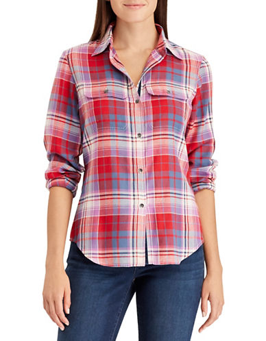 Chaps Plaid Cotton Button-Down Shirt-RED-Small