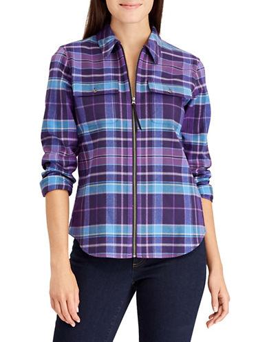 Chaps Plaid Full-Zip Cotton Shirt-PURPLE-Small