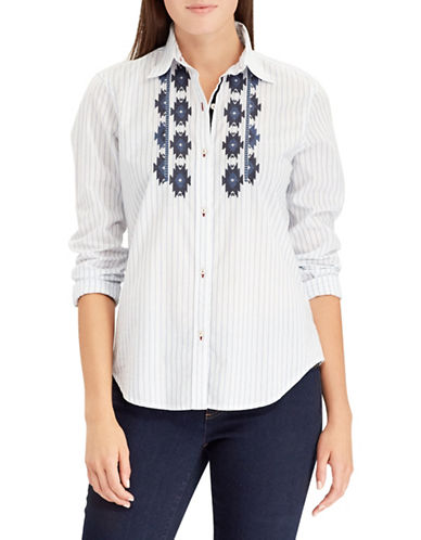Chaps Petite Striped Cotton Button-Down Shirt-BLUE-Petite Large
