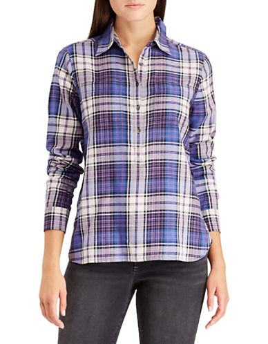 Chaps Petite Plaid Cotton Button-Down Shirt-BLUE-Petite X-Large