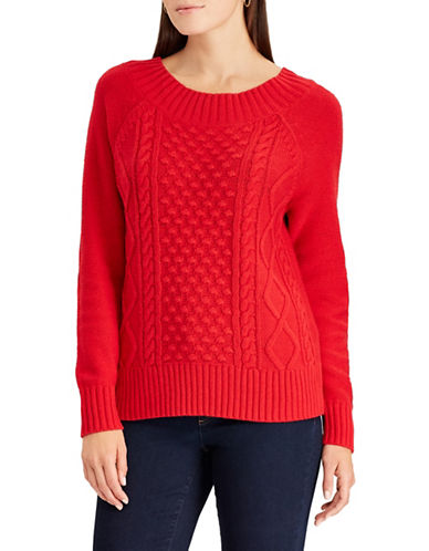 Chaps Petite Cable Knit Sweater-RED-Petite Small