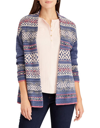 Chaps Petite Open Front Fair Isle Cardigan-BLUE MULTI-Petite X-Small