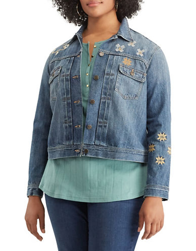 Chaps Plus Embroidered Denim Jacket-BLUE-3X