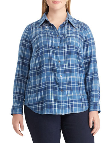 Chaps Plus Plaid Cotton Button-Down Shirt-BLUE-1X