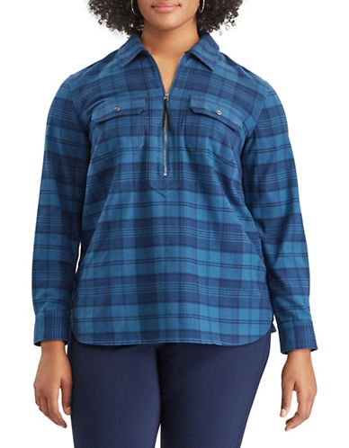 Chaps Plus Plaid Half-Zip Shirt-BLUE-2X