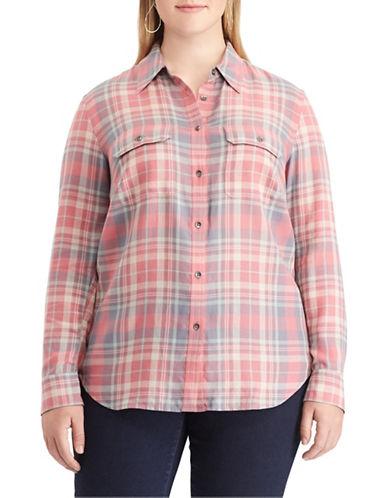 Chaps Plus Plaid Cotton Button-Down Shirt-PINK-3X