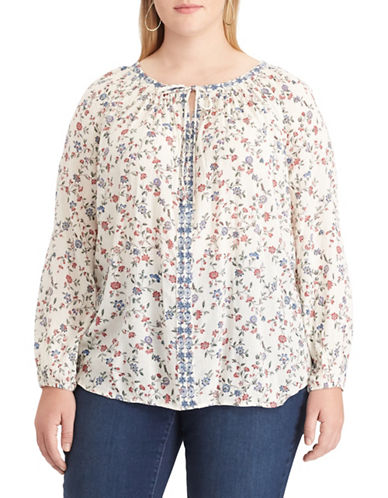 Chaps Plus Embroidered Floral Top-WHITE-2X